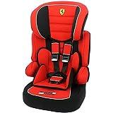 Asiento de coche y asiento elevador Ferrari grupo 1/2/3de 9a 36kg–Creación 100% francesa–3estrellas Test TCS–Protecciones Laterales–cale-tête acolchado y ajustable.
