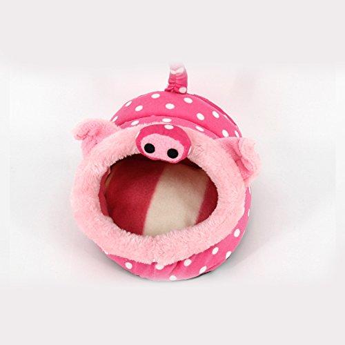Zantec Tierbett in Schweineform, ultra weicher, kurzer Plüsch, warmes Nest, Bettauflage mit Baumwollfüllung, Rosa, Schwein, Large