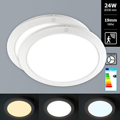 2x Xtend Mini Aufputz LED Panel mit Bewegungsmelder rund Ø330mm Lichtfarbe umschaltbar 3CCT warmweiß neutralweiß tageslicht 24W nur 1,9cm hoch Integriertes Netzteil Inkl. Montagematerial als Deckenleute oder Wandleuchte verwendbar