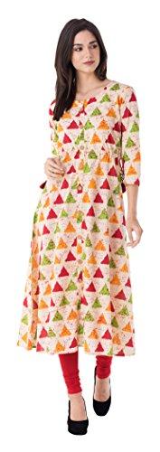 GULMOHAR JAIPUR Women's Cotton A-Line Kurta (GC1032YELLOW-M, Multi-Coloured, Medium)