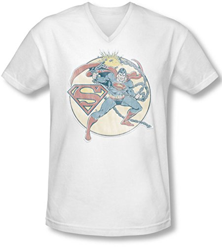Dco, motivo: Superman uomo, Ferro-Maglietta con scollo a V Bianco