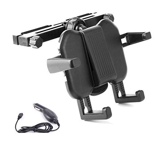 Auto-Kopfstützenhalterung für Lenco MES-211/-217/-230 und DVP-740 X2 DVD-Players UND KFZ-Ladegerät für Ihr Handy (Portable Dvd-player White)