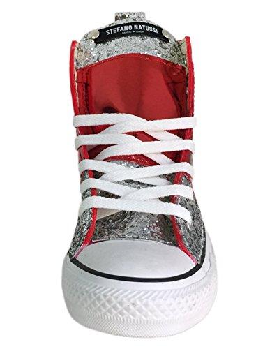 Converse All Star con applicazione di tessuto glitter argento e lamina rossa - STRIPE EDITION Argento