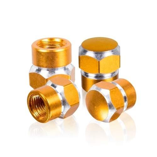 ke Universal Aluminium Auto Rad Reifen Ventilkappen Staubschutzhauben Auto Motorrad Luftdichten Vorbau Fahrrad Luftkappen (Color : Gold) ()