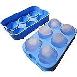 Diamond Cool – Molde para 6 cubitos de hielo esféricos XXL – Molde azul de silicona para hielo (6 bolas)