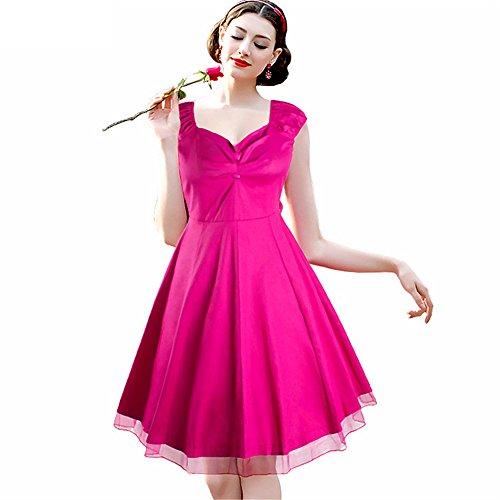 Dabag - Retro v- collier style Hepburn longueur pure couleur épissage Tutu sans manches grande robe Swing (M, Rouge) Rouge rose