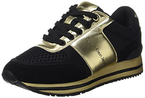 Calvin Klein Damen Tanya Suede/Nylon/Metal Smooth Sneaker Mehrfarbig (Black/Gold) 39 EU Damen-black Metal