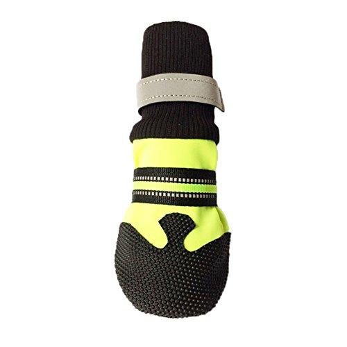 Ukallaite Essential für Tauchen 4PCS Winter Herbst Pet Socken Schuhe Weiche Neopren Anti-Rutsch Schutzstiefel für Hunde–Rose Rot XL L grün