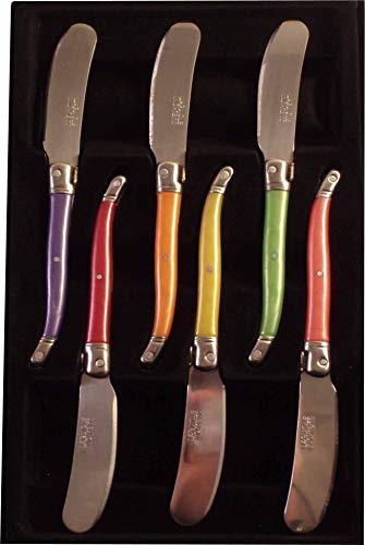 Confezione di 6tartineurs Laguiole di colore-Mitre in inox-Lama microdentée inox-Colore effetto perlato: anice, prugna, blu, rosso, arancione e sole-Manico in ABS-Lavastoviglie.