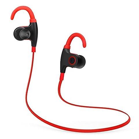Écouteurs Sports LESHP Oreillette Etanche Bluetooth 4.1 Résistant à la Transpiration Écouteurs Sans Fil avec Microphone HD Réduction de Bruit Courir sur l'Oreille Écouteurs pour iPhone Android et Faire les Sports Intérieur ou Extérieur (Rouge)