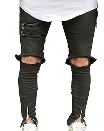 jean skinny d chir noir aux genoux avec chevilles zipp es pantalon denim homme jean serr. Black Bedroom Furniture Sets. Home Design Ideas