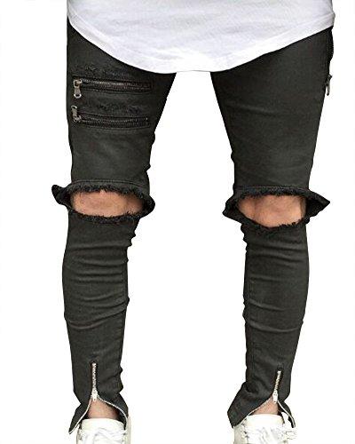 Jean Skinny Déchiré Noir aux Genoux avec Chevilles Zippées Pantalon Denim Homme Jean Serré Pantalon Jean Noir