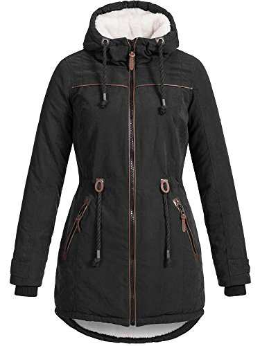 DESIRES Damen Bessi warmer Winter Parka Mantel Jacke Lang gefüttert Teddy 9000 BLACK S