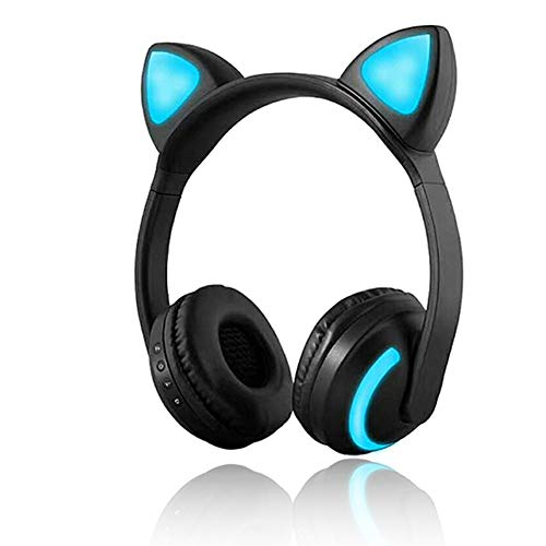 Kabellose Bluetooth-Kopfhörer, Katzenohrhörer, 7 Farben, LED-Licht, blinkend, Leuchtend, On-Ear-Stereo-Headset, kompatibel mit Smartphones und PCs (Halloween-songs Einfach Super)