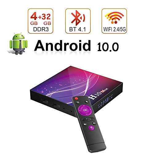 Android 10.0 TV-Box H10 Max 4G RAM 64G ROM, CPU H616 64Bit, 1000M LAN / 2,4/5,8G Wi-Fi, Android TV-Box Spdif/Dolby H.265 8K HDR Android TV Box,4gb+32gb
