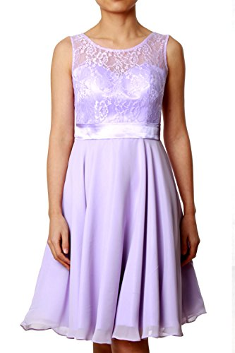 MACloth Women Short Lace Chiffon Bridesmaid Dress Cocktail Party Formal Gown Fuchsia