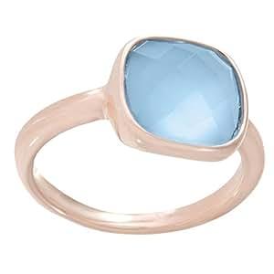 Bronzallure Donna-anello bronzo lega parte indora vetro blu WSBZ00094BB, lega metallica, 12, colore: Oro rosa, cod. WSBZ00094BB-12
