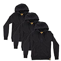 Campus Sutra Black Zipped Men Hooded Sweatshirt Combo of 3