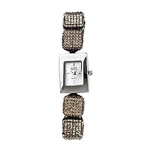 Eton 3020L Reloj De Moda Para Damas Correa De Pulsera Ajustable Cubo De Cristal Color Gris