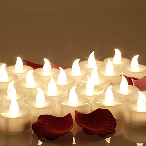 24 pz Senza Fiamma LED Candele da Tè, con Finto Rosa Petali di fiori, per la Decorazione Domestica Di Natale, Bianco Caldo