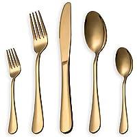 HOMQUEN Juego de cubiertos, juego de platos y cubiertos de oro, servicio de juegos de acero inoxidable para 6 personas, juego de cubiertos de comedor de 30 piezas