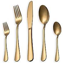 HOMQUEN Juego de cubiertos, juego de platos y cubiertos de oro, servicio de juegos