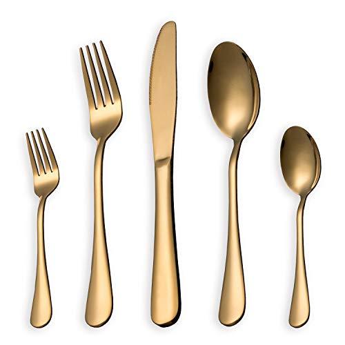 Homquen set di posate, set di posate d'oro, set di servizio in acciaio inox per 6 persone, set di posate da 30 pezzi