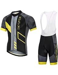 SKYSPER Ciclismo Maillot Hombres Jersey + Pantalones Cortos Culote Mangas Cortas de Ciclismo Conjunto Ropa Equipacion