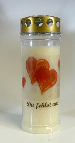"""Grablicht-Kerze Herzen \""""Du fehlst uns\"""" 3773 - Brenndauer ca. 7 Tage (20*7 cm) Grabkerze mit Motiv und Spruch"""