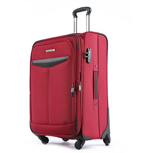 UNITRAVEL Koffer Weich Erweiterbar 66 Zentimeter 71 Liter 4 Räder Rot TSA Schloss