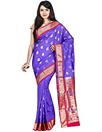 Indian Silks Peacock Design Women's Paithani Handloom Pure Silk Saree, With Unstitched Blouse Piece(Violet)