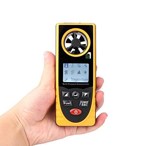 RDW Hand-LCD Digital Anemometer Anemometer mit Hintergrundbeleuchtung, Windgeschwindigkeit/Temperatur/Feuchte/Wind/Taupunkt/Atmosphärischer Druck/Höhe/Beleuchtung CE