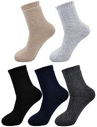 PUTUO Calcetines Invierno Hombres Calcetines Térmicos Coloridos, Hombres Calientes Calcetines de Lana Gruesa, 5