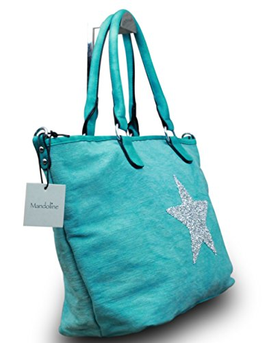 My-Musthave XXL Shopper Canvas-Tasche Blogger Stern Schultertasche Canvas Vintage Used Look, Farbe:Mint Mint