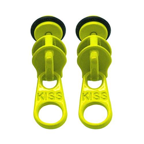 Tumundo 2 Fakeplugs Reißverschluss aus Edelstahl Zipper 10mm Ohrstecker Fake Plug Ohr-Piercing, Farbe:gelb