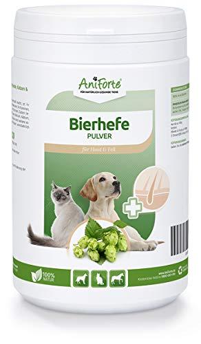 AniForte Reine Bierhefe Pulver 500g, Naturprodukt für Hunde, Katzen und Pferde, Glänzendes und kräftiges Fell, Vitale Haut, Reich an B-Vitaminen, Mineralien, Spurenelementen -