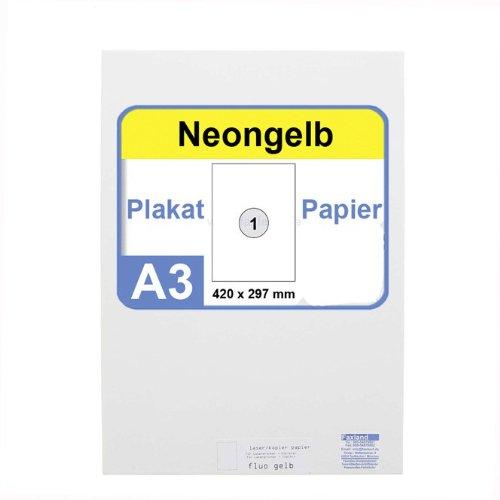 Neonpapier 100x DIN A3 Kopierpapier Neongelb - in Neon Farbe Fluo Gelb