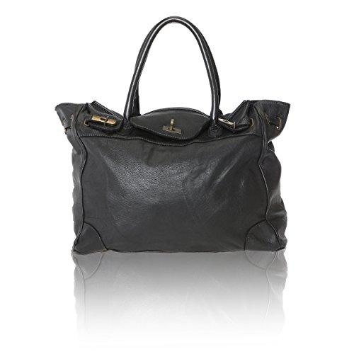 Chicca Borse Vintage Line - Damenhandtasche aus echtem Leder Made in Italy - 37x36x18 Cm Schwarz