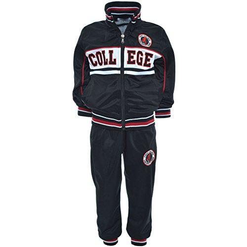 Kinder Jogginganzug Pulli Jungen Hoodie Pullover Pullover Hose Sportanzug 20970, Farbe:Schwarz;Größe:164