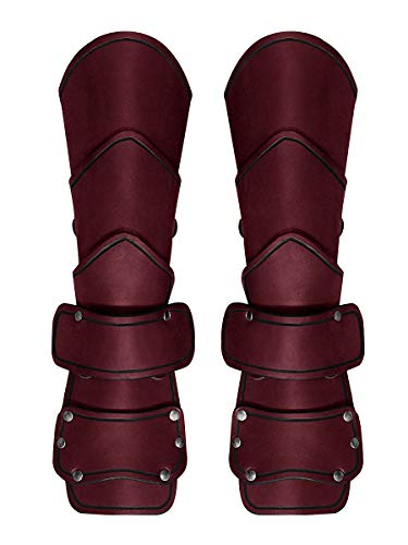 Andracor - Panzerhandschuhe aus Leder - Stabile Bazuband Armschienen mit Handschutz und Schnallen - LARP Mittelalter Wikinger & Cosplay - - Assassins Creed Kostüm Rot