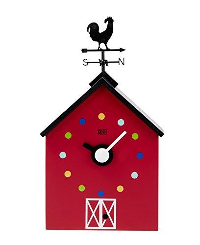 8a030fb6e KOOKOO RedBarn pequeña, reloj de granja con 12 sonidos de animales, un  gallo y una veleta giratoria, con sensor de luz, hecho en madera MDF, para  niños 6+ ...