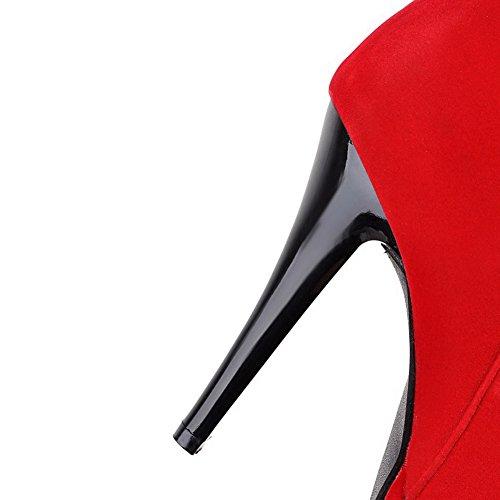 AllhqFashion Damen Hoher Absatz Mattglasbirne Mitte-Spitze Eingelegt Reißverschluss Stiefel Rot