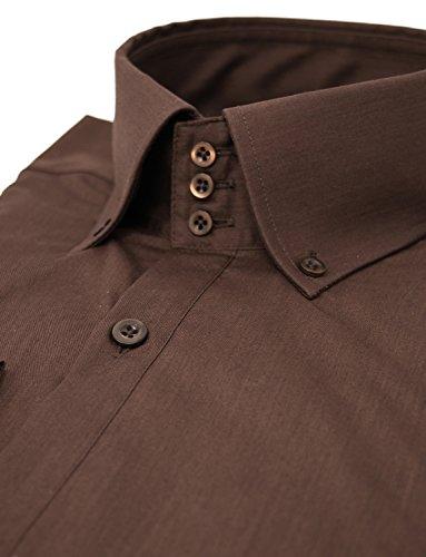 Herren Hemd Slim Fit Business Langarmhemd von MODERNO (MSSF501) Braun