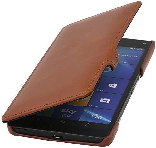 StilGut Book Type Case mit Clip, Hülle aus Leder für Microsoft Lumia 950 XL / 950 XL Dual SIM, Cognac