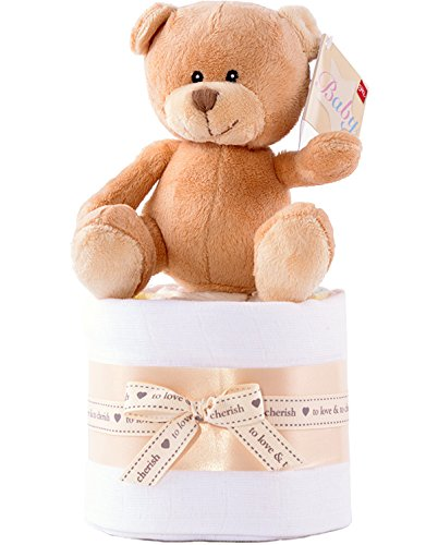Teddy Bear mini torta di pannolini–argento, grigio e bianco unisex bambino ceste regalo