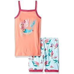 Hatley Girl's Organic Cotton Sleeveless Pyjama Sets, Pink (Mermaid Tales), (Size:3 Years)