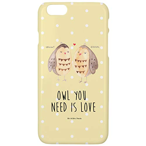 Mr. & Mrs. Panda Cover, iPhone 6, iPhone 6 / 6S Handyhülle Eule Liebe mit Spruch - Farbe Gelb Pastell - Liebe Cover