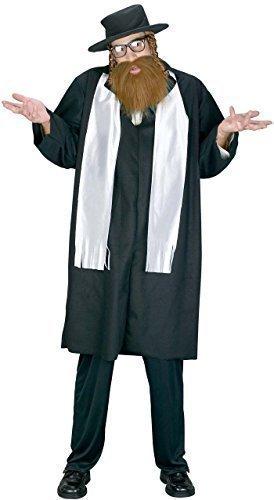 Herren Kostüm - 5 Teiliges Jüdisches Rabbi Kostüm + Bart - Rabbi Priester Kostüm (Rabbi Kinder Kostüme)