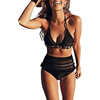 Amusement 1 * Traje de baño sexy de cintura alta para mujer con bola de malla con borla bola de malla adecuado para deportes al aire libre natación, color negro, tamaño extra-large