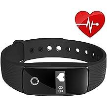kivors Fitness Tracker ID107 Pulsera Inteligente Monitor de Pulso Cardiaco Bluetooth Pulsera Inteligente Deporte Actividad Pulsera